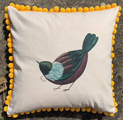 Limited Edition Tantalising Tui Pom Pom Cushion