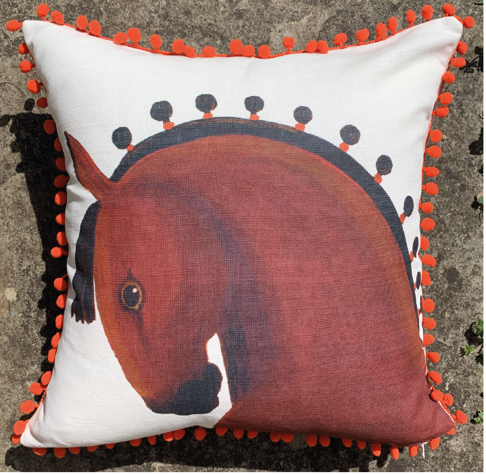 Limited Edition Pom Pom Handsome Horse Cushion