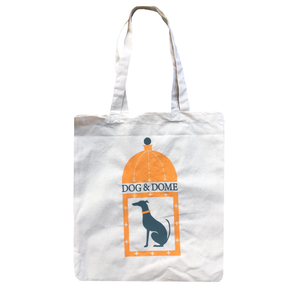 Cotton portrait tote bag with Dog & Dome logo on the front