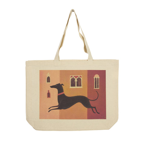 Two-sided landscape cotton canvas tote depicting a black dog in Venice on one side and a black dog on a plain background on the other side
