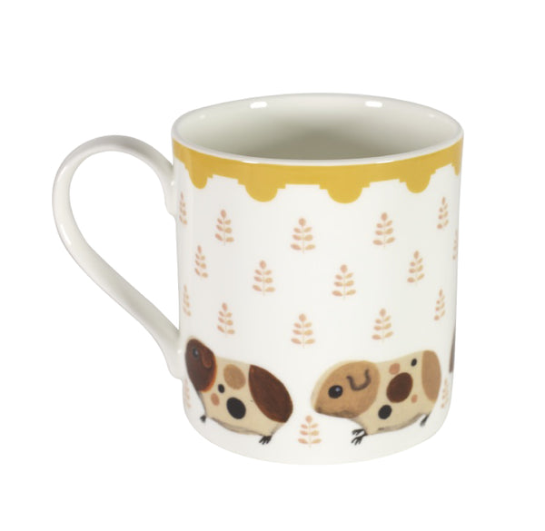 Two-sided fine bone china mug depicting Doris and her guinea pig babies