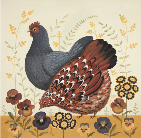 Pecking the Pansies Print