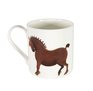 Two-sided fine bone china mug depicting a full horse on one side and a close up of its head on the other side