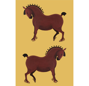 A linen/cotton blend tea towel depicting a couple of horses on a yellow ochre background