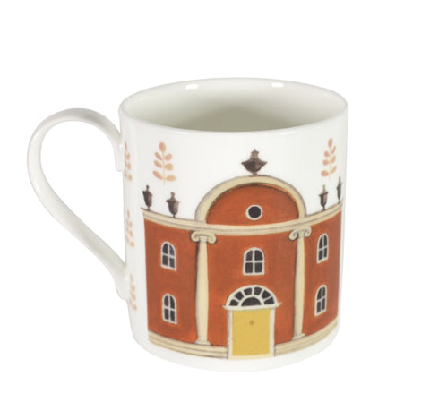 Two-sided fine bone china mug depicting a house on one side and hound on the other side