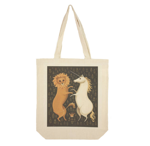 Portrait landscape cotton canvas tote depicting a lion & unicorn