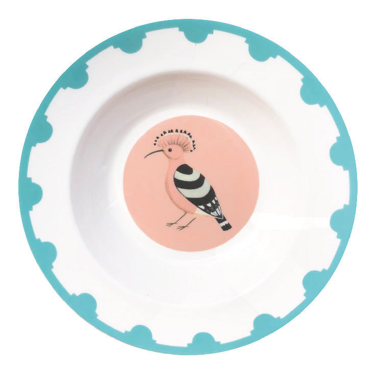 Blue bordered fine bone china plate with a hoopoe in the centre