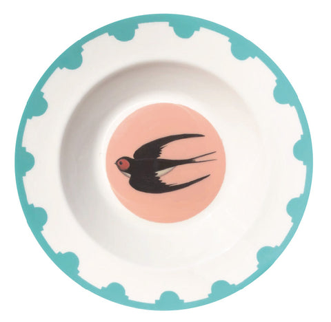 Blue bordered fine bone china plate with a swallow in the centre