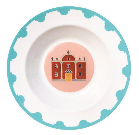 Blue bordered fine bone china plate with a folly in the centre