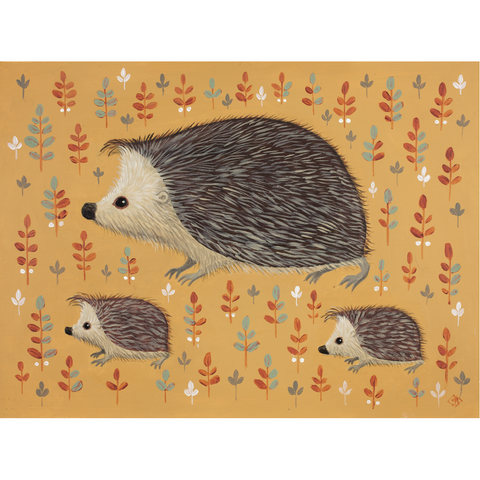 Hooray for Hedgehogs print by Catriona Hall