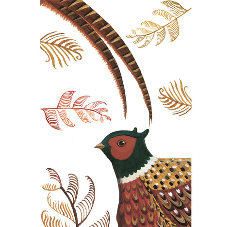 A linen/cotton blend tea towel depicting a pheasant and ferns
