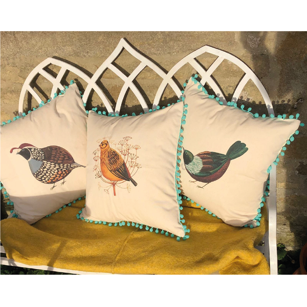 Limited Edition Quivering Quail Pom Pom Cushion