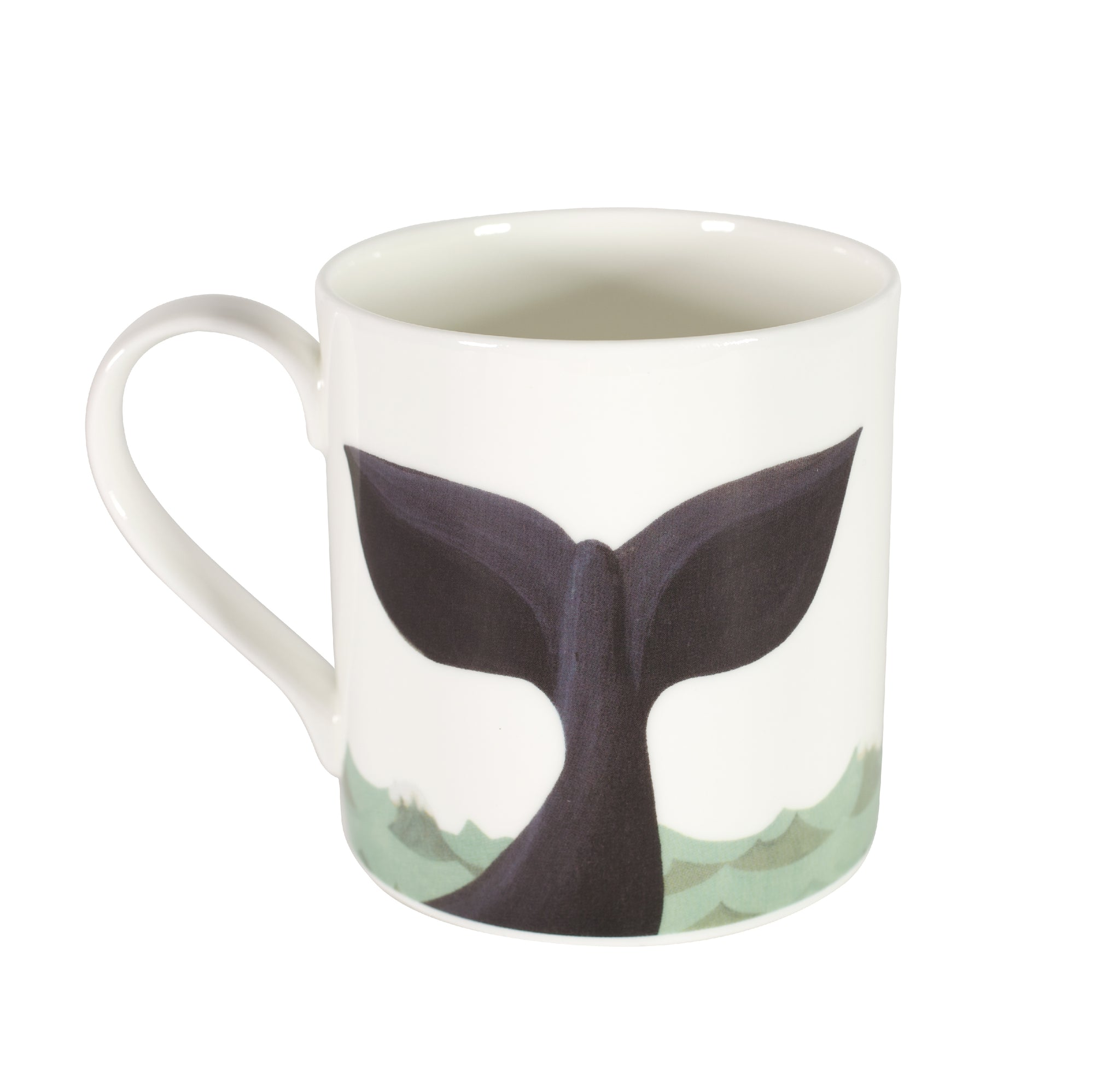 Two-sided fine bone china mug depicting a whale on one side and a whale's tail on the other side