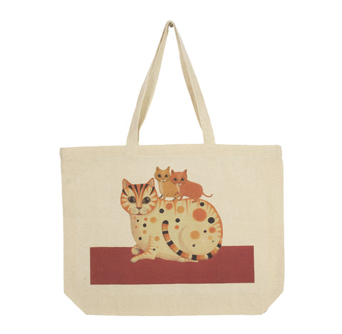 Landscape cotton canvas tote depicting Caroline the cat and her kittens