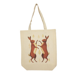 Portrait cotton canvas tote depicting two boxing hares
