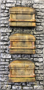3 Stacked Coffins Embedded in Stone Wall RS505