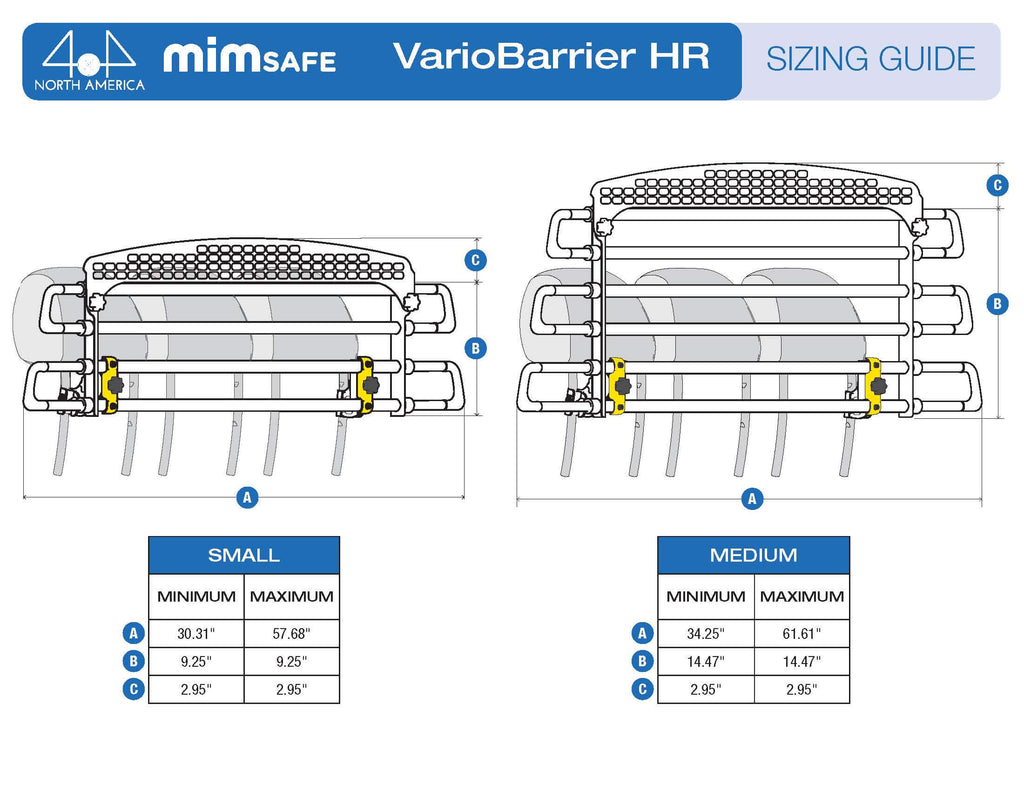 MIM Safe VarioBarrier HR Universal crash tested Cargo Barrier Sizing Chart
