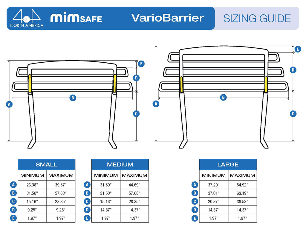 MIM Safe VarioBarrier Dimensions sheet for your vehicle