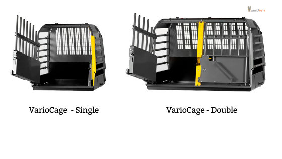 Variocage single and double crates for car travel with dogs