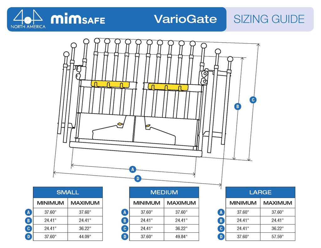 MIM Variogate Dog Cargo Barrier for SUVs and Cars wing extension sizing Guide