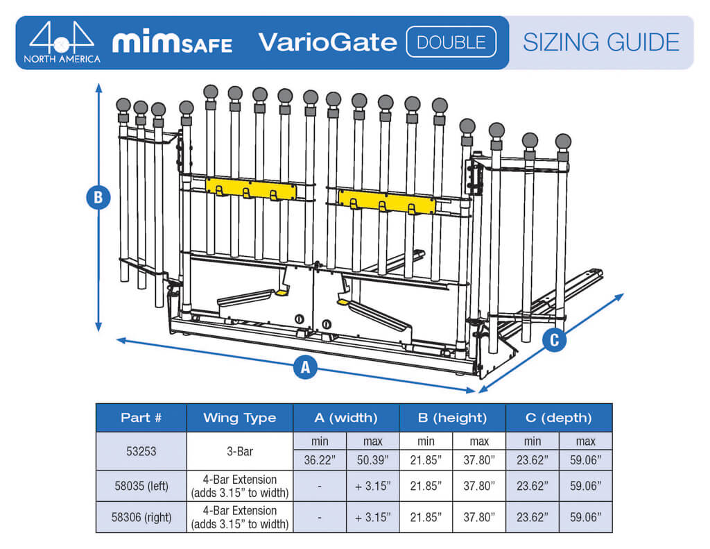 MIM Variogate Double Sizing Guide - Crash rated cargo gate