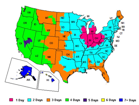 E-collar US shipping and transit time map
