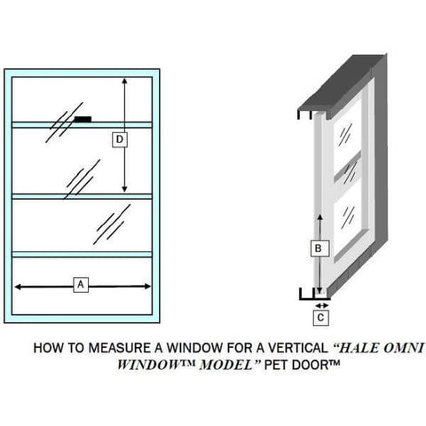 Hale Omni Vertical Window Mounted Dog and Cat Door - for Sash Windows measuring guide