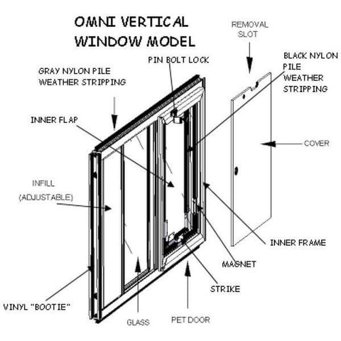 Hale Omni Vertical Window Mounted Dog and Cat Door - for Sash Windows specifications sheet