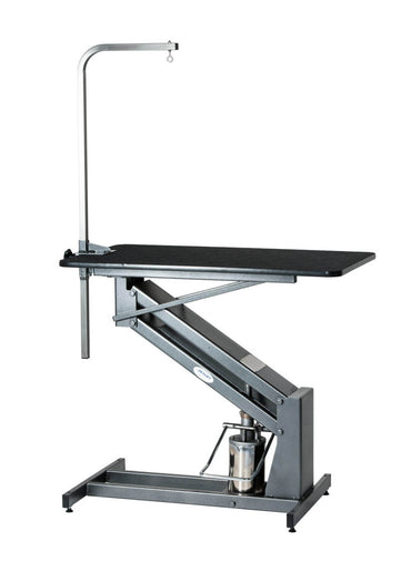 PetLift MasterLift Hydraulic Grooming Table Extended Top and Grooming Post in Silver