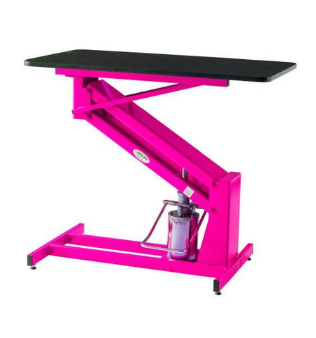 PetLift MasterLift Hydraulic Dog Grooming Table with Rotating Top in pink