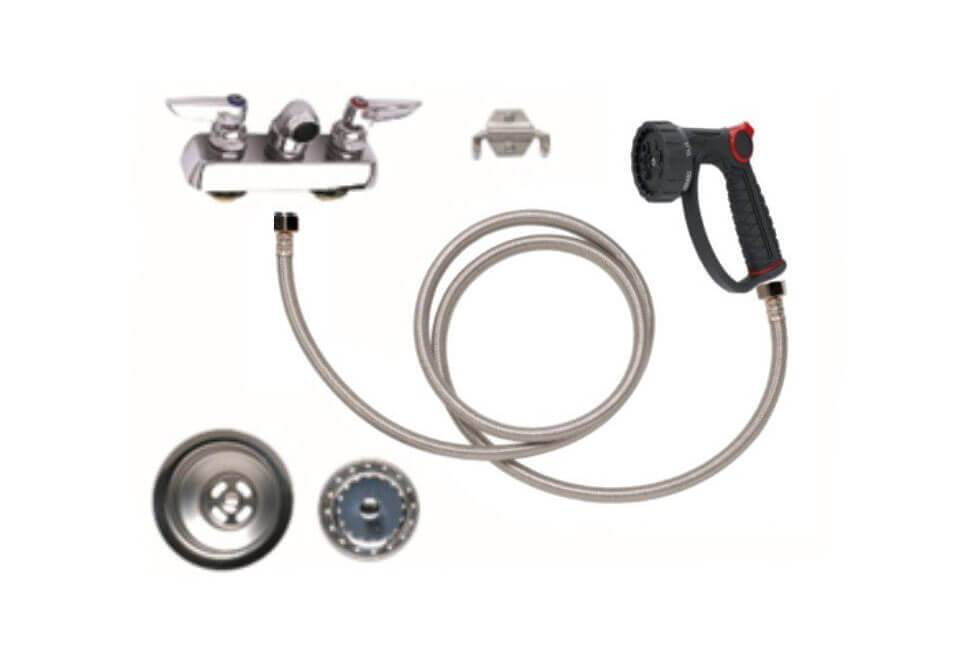 "PetLift Complete Faucet Package - 4"" Centers with Faucet, Hose, Sprayer, Drain & Strainer"