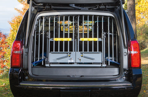 MIM Safe Variogate car Crash Tested Dog Cargo Barrier and Gate for SUVs Large (L) 00389 Doors closed