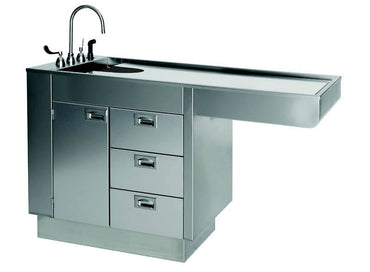 "VetLine 60"" Stainless Steel Veterinary Overhang Wet Table with Knee Space and Storage"