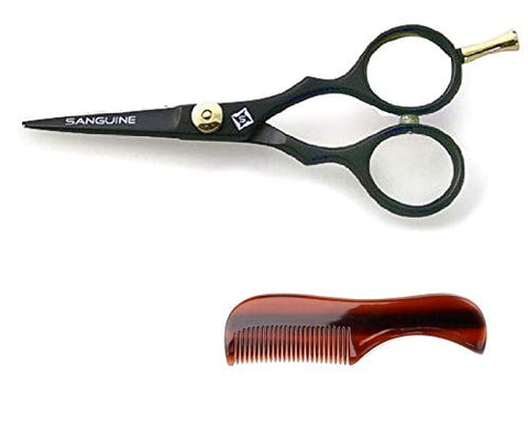 Professional Moustache Scissors, Beard Trimming Scissors, Extremely Sharp 5  (13Cm) + Case