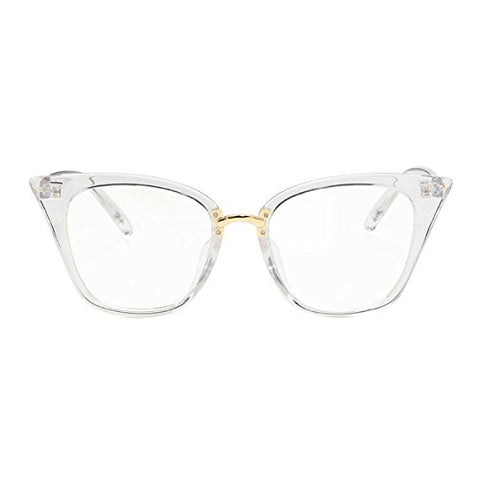 Shortsighted Glasses Womens Stylish Cat Eye Myopia Glasses For Long Distance Transparent White Frame -2.00 *** These Are Not Reading Glasses***