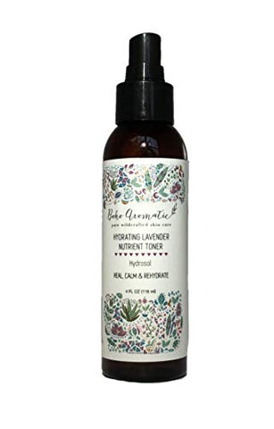 Boho Aromatic Hydrating Lavender Nutrient Toner, Hydrosol, Face Mist, Facial Spray, Natural &Amp; Organic, Vegan, Hydrate, Cruelty-Free, Eco Friendly 4 Fl Oz