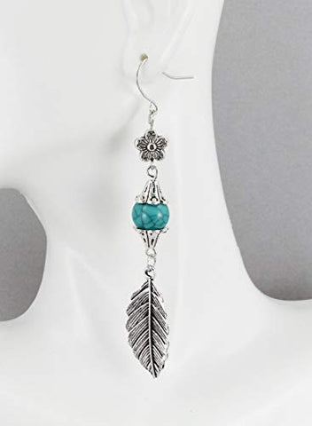 Silver Feather Earrings Dangle Metal Leaf Feather Lightweight 3 5/16 Long Aqua