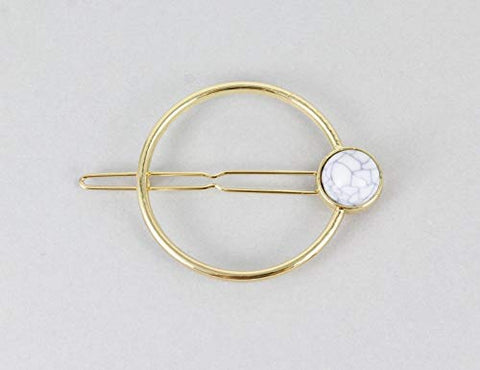 Gold Circle Barrette White Stone Outline Shape Metal Hair Clip Barrette Round