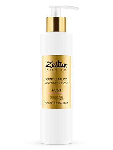 Zeitun Foam Cleanser - Hudu - Gentle Milk Cleanser For Face - Calming &Amp; Soothing Care For Sensitive Skin With Repairing Botanicals 6.8 Oz