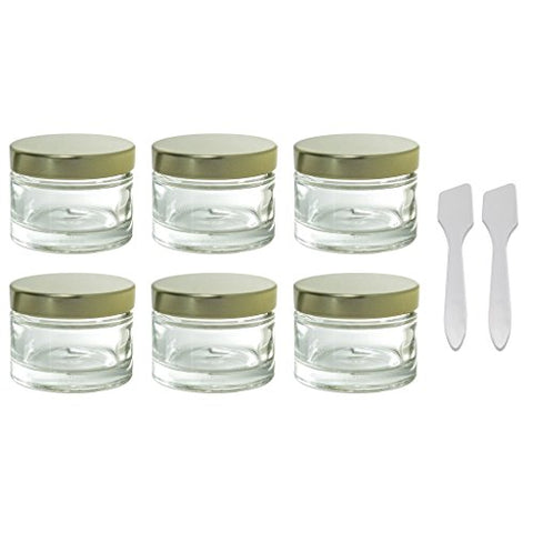 Clear Glass 1 Oz 30 Ml Heavy Wall Balm Jars With Gold Metal Foam Lined Lids  + Spatulas And Labels