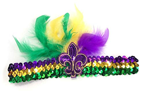 Mardi Gras Feather Fleur De Lis Sequin Headband Purple Green Gold Sequin Fat Tuesday Accessory New Orleans