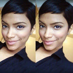 Yviann Short Human Hair Wigs Pixie Cut Wigs For Black Women Short Straight Black Wigs Natural Looking