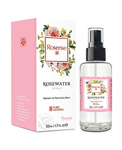 Rosense Glass Bottle Rosewater Hydrating Facial Toner/Rose Water Face Mist 1.7 Oz