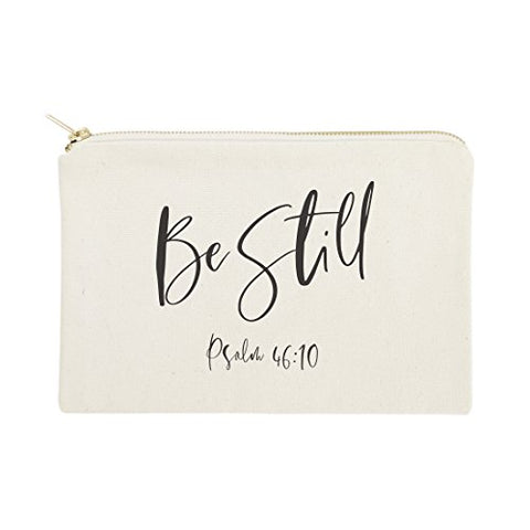Be Still, Psalm 46:10 Religious Bible Verse Cosmetic Bag, Makeup And Travel Pouch