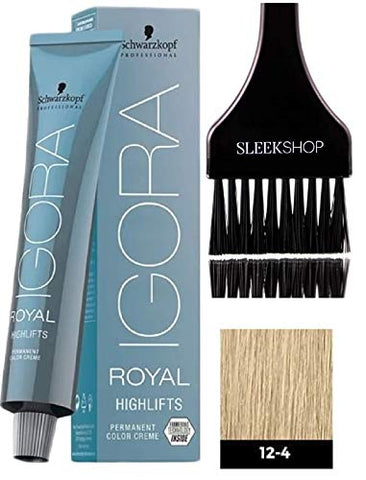 Schwarzkopf Igora Royal Highlifts Permanent Hair Color Creme (With Sleek Tint Applicator Brush) Haircolor Cream (12-4 Special Blonde Beige)