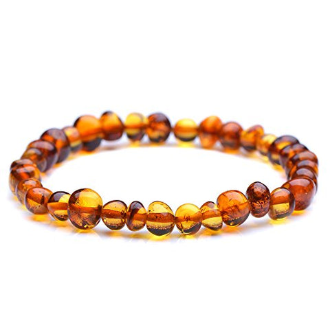 Polished Baltic Amber Bracelet For Adult - Men And Women - Choose Your Color And Choose Your Size! - 3 Sizes And 10 Different Colors - Genuine Baltic Amber (8.6 Inches, Cognac)