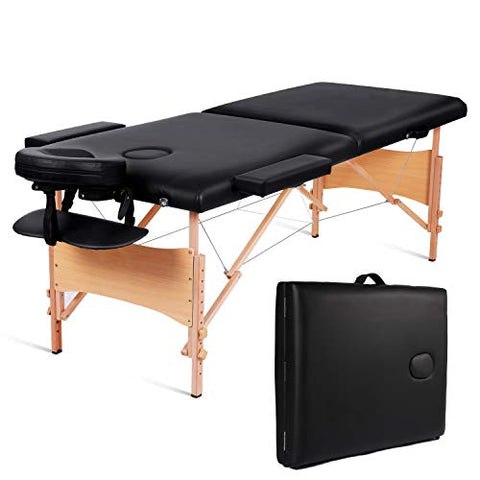 Maxkare Massage Table Portable Facial Spa Professional Massage Bed With Carrying Bag 2 Fold,Black