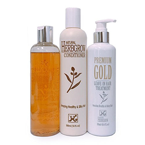 Natural Herbgrow Shampoo + Conditioner + Leave-In Treatment 3 Items Set