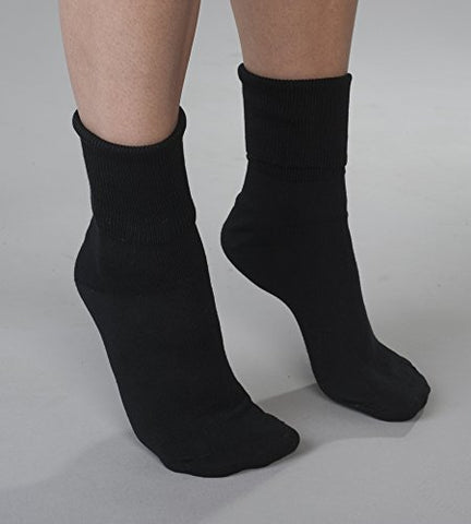 6 Pair Women'S Black Buster Brown Elastic-Free Cotton Socks - Sock Size 10 - Fits Shoe Sizes 7.5-9