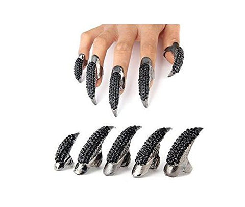 Set Of 5 Punk Style Eagle Claw Ring Gothic Jewelry False Nail Retro Clear Crystal Talon Finger Ring Knuckle Bend Fingertip Claw For Cosplay Paty (Black)